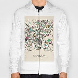 Colorful City Maps: Philadelphia, Pennsylvania Hoody