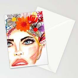 Nude Lips & Flowers Stationery Cards