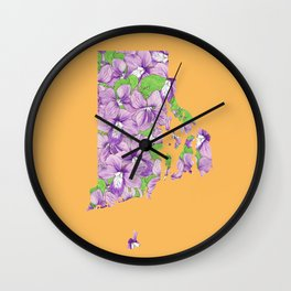 Rhode Island in Flowers Wall Clock
