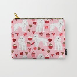 Toy poodle white poodles valentines day cupcakes love hearts dog breed pet portrait pattern gifts pe Carry-All Pouch