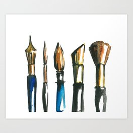 watercolor paint brush illustration !! Art Print