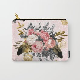 Romantic vintage roses and geometric design Carry-All Pouch
