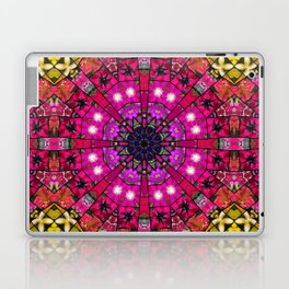 Garden mosaic mandala - radiant red and pink Kaleidoscope with glimmers of gold Laptop & iPad Skin