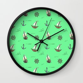 Happy Sailing Pattern with green background Wall Clock