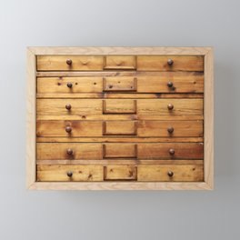 Wooden cabinet with drawers Framed Mini Art Print