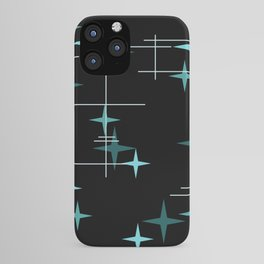 Mid Century Modern Stars Black Teal iPhone Case
