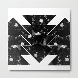 Up And Down - Black and white textured triangles, geometric, abstract Metal Print