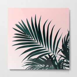 Modern tropical palm tree photography pastel pink ombre gradient Metal Print