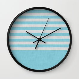 Sky blue and gray color block and stripes Wall Clock