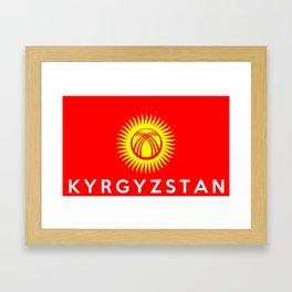 Kyrgyzstan country flag name text Framed Art Print