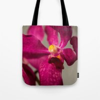 orchid Tote Bags featuring Orchid by Michelle McConnell