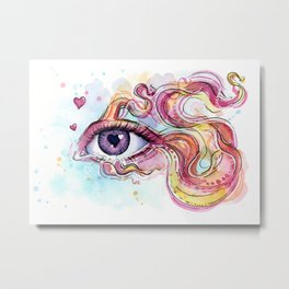 Eye Betta Fish Surreal Animal Hearts Watercolor Metal Print