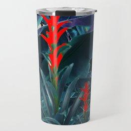 RED BROMELIAD FLOWERS & BLUE  JUNGLE LEAVES Travel Mug