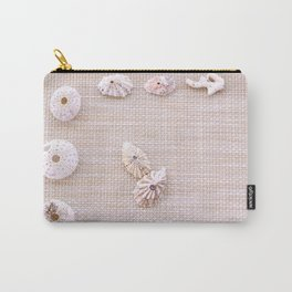 Urchins and seashells nautical design on textured background. Carry-All Pouch