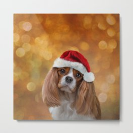 Drawing Dog breed Cavalier King Charles Spaniel  in red hat of Santa Claus Metal Print