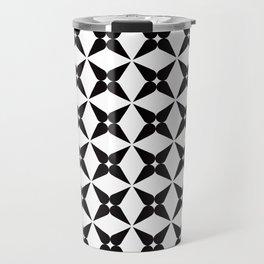 Geometric Pattern 245 (black crosses) Travel Mug