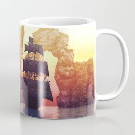 A pirate ship off an island at a sunset Coffee Mug