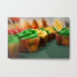 Frosted Leaf Cupcakes Photograph Metal Print