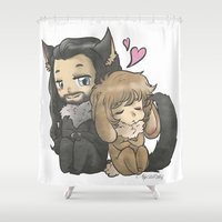thorin Shower Curtains featuring Bunny & Wolf by ScottyTheCat