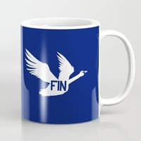 finland Mugs featuring National Bird of Finland by Infinite Sparrow