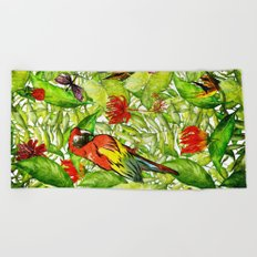 My tropical Summer Flowers and Birds Garden- Jungle Pattern on #Society6 Beach Towel