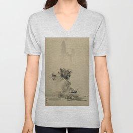 Sesshu Toyo - Broken Ink Landscape (1495) Unisex V-Neck
