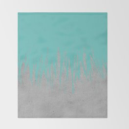 Concrete Fringe Turquoise Throw Blanket