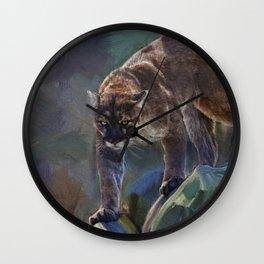 The Mountain King - Cougar Wildlife Art Wall Clock