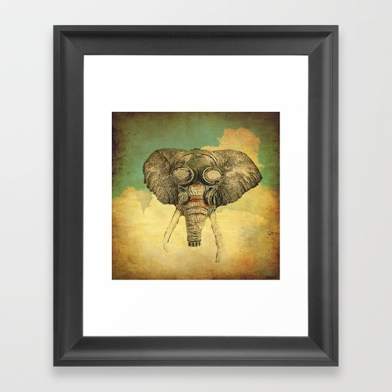 Gas mask for elephant Framed Art Print
