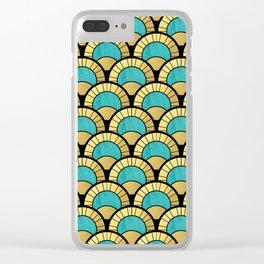 Duck Egg Green Art Deco Fan Pattern Clear iPhone Case