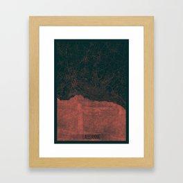Lausanne Map Red Framed Art Print
