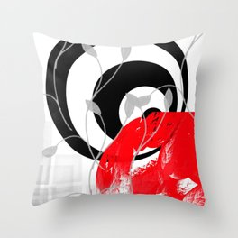 red wave abstract geometric digital art Throw Pillow