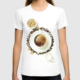 Top view of a cup of coffee, isolate on white T-shirt