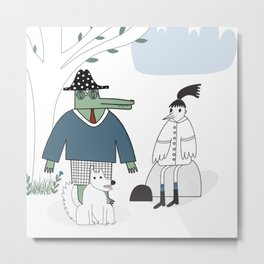 Mr. Croco, dog and a girl - a bird. Metal Print
