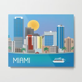 Miami, Florida - Skyline Illustration by Loose Petals Metal Print