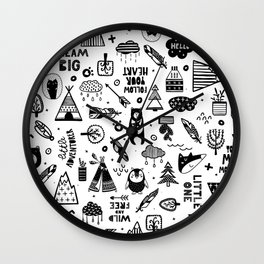 Wild And Free, Scandinavian Kids Wall Clock