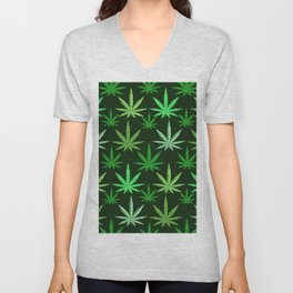 Marijuana Green Leaves Weed Unisex V-Neck