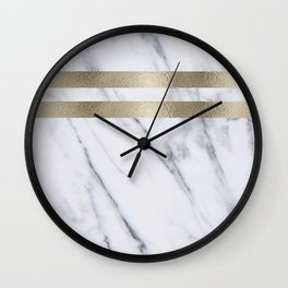 Smokey marble and gilded striped accents Wall Clock