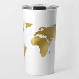 Gold Foil Map - Metallic Globe Design Travel Mug