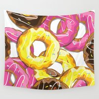 doughnut Wall Tapestries featuring Delicious donut pattern by Nick's Emporium Gallery