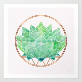 Green Succulent with Metallic Gold Accents Art Print
