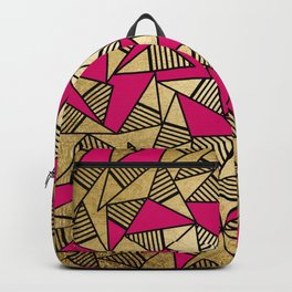 Glam Faux Gold, Black, and Pink Striped Triangles Geometric Backpack