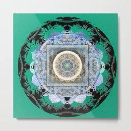 Harmonic Blue Green Tibetan Hybrid Boho Mandala Stamp Metal Print