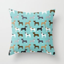 Pit Bull Terrier cute dog art pet portrait must have pet friendly gifts for dog person pit bulls Throw Pillow