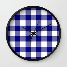 Gingham (Navy Blue/White) Wall Clock