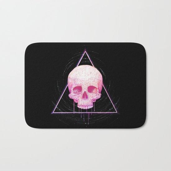 Skull in triangle on black Bath Mat