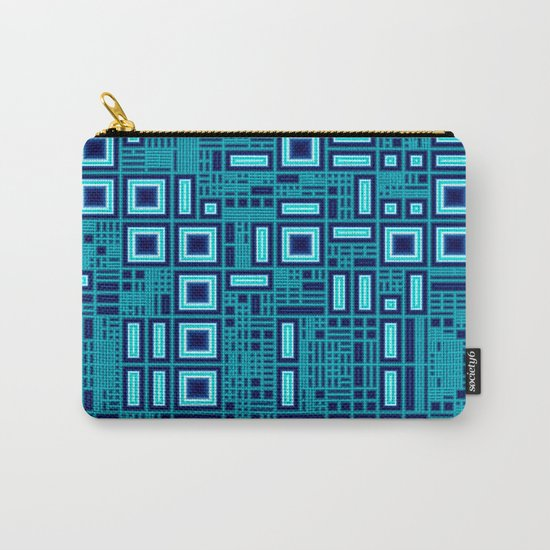 Blue digital geometric abstraction Carry-All Pouch
