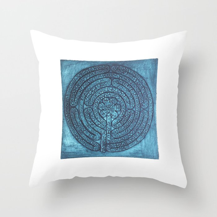 Floral Labyrinth Collagraph Throw Pillow