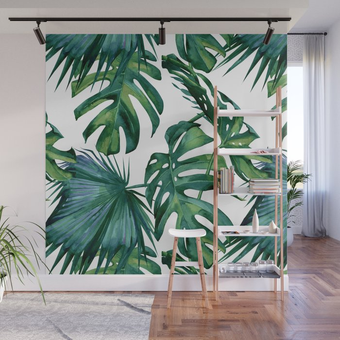Classic Palm Leaves Tropical Jungle Green Wall Mural by