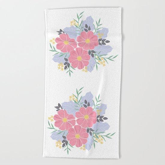 Vintage Pink Flowers Beach Towel
